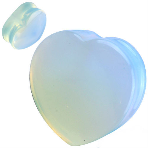 Heart shape Organic Opalite Natural  Stone Ear Gauges