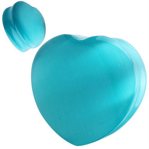 Heart shape Organic Aqua Cats eye Natural  Stone Ear Gauges