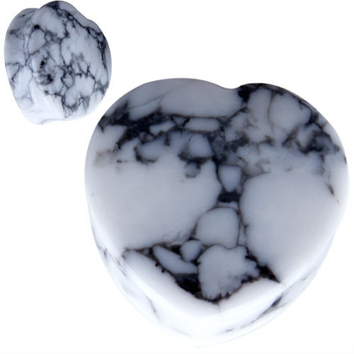 Heart shape Organic White Howlite Natural  Stone Ear Gauges
