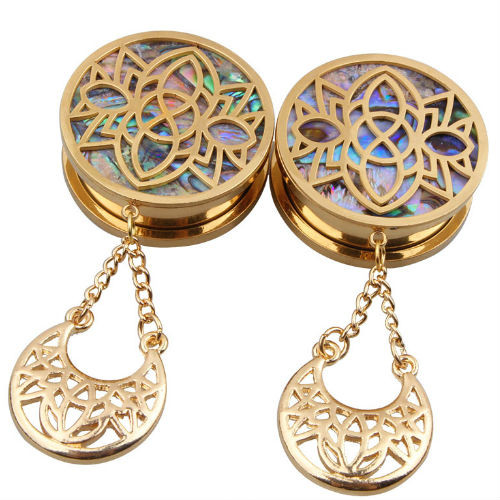 Gold Plated Stencil Abalone Crescent  Dangle Stainless Steel Screw Plugs