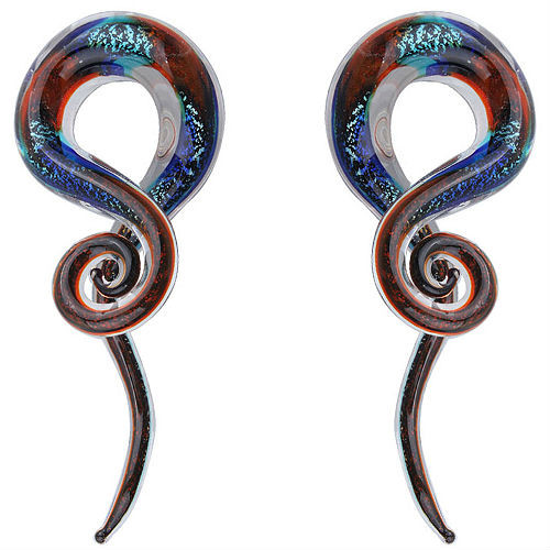 Dichroic Fire and Rain Swirl ear spiral taper hangers