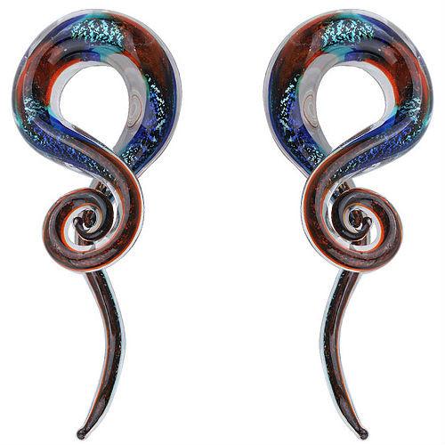 Dichroic Fire and Rain Swirl ear spiral taper hangers