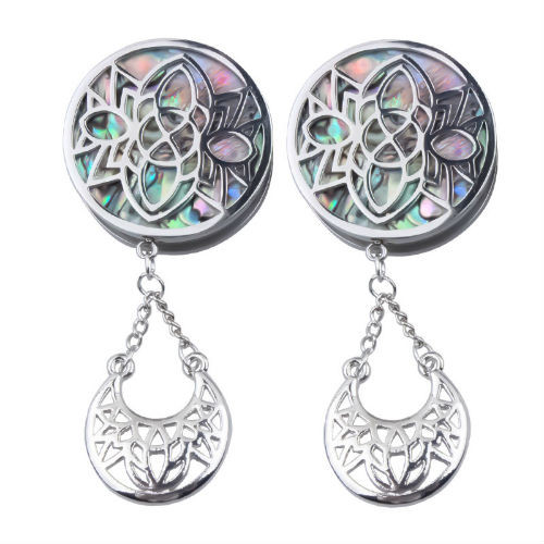 Silver Stainless Steel Stencil Face Abalone Screw Plugs W/Crescent Dangle