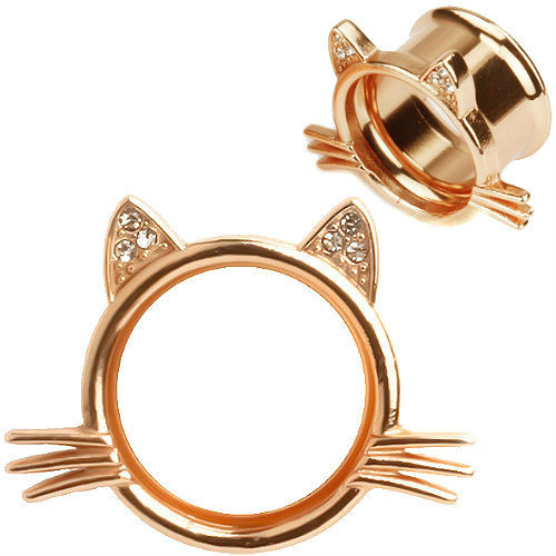 Strawberry Rose Gold Tunnels  Kitten Whisker and Cubic Zirconia Gem Ears