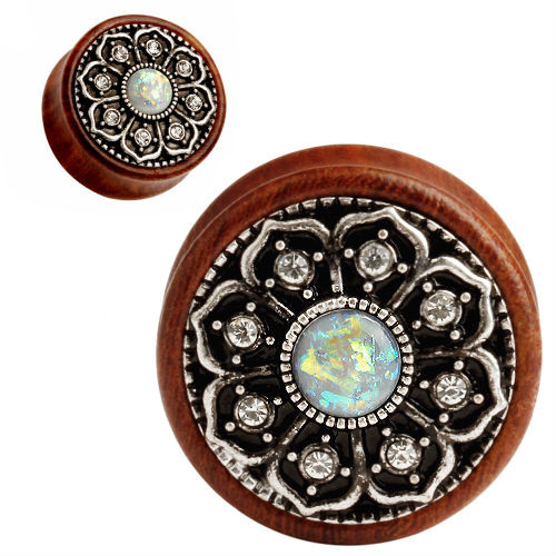 Wood with Steel Flower gems and white opal center double saddle ear plugs