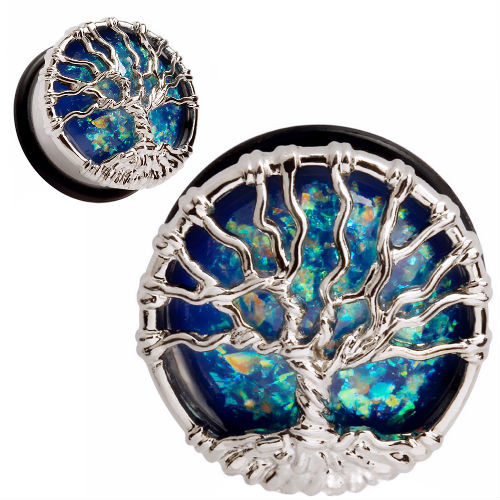 Twisted tree of life stainless steel with blue opal single flare