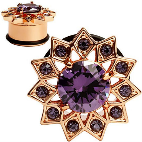 Rose Gold Flower large purple center gem and purple gem petals