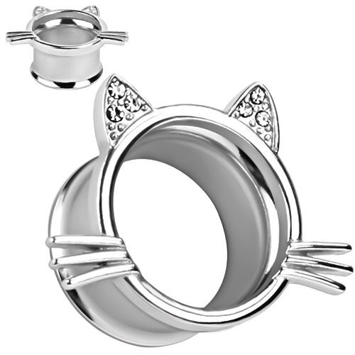 Silver Tunnels  Kitten Whisker and Cubic Zirconia Gem Ears
