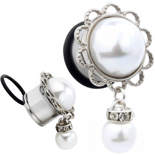 Synthetic Pearl Dangle ear plugs  with CZ gems
