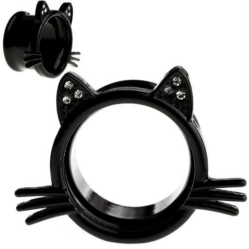 Black  Tunnels  Kitten Whisker and Cubic Zirconia Gem Ears