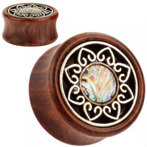 Wood with Steel Heart Shell Center center double saddle ear plugs