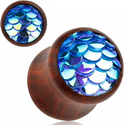 Wood Plugs With Blue Mermaid scale double saddle ear plugs