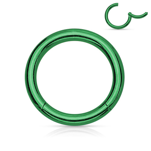 Green Titanium Anodized High Quality Precision 316L Surgical Steel Hinged Segment Ring
