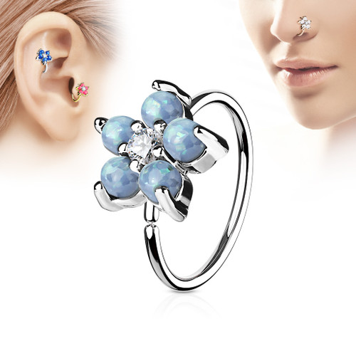 Blue  Opal Glitter Set Flower Petals CZ Center 316L Surgical Steel Hoop Ring for Nose & Ear Cartilage
