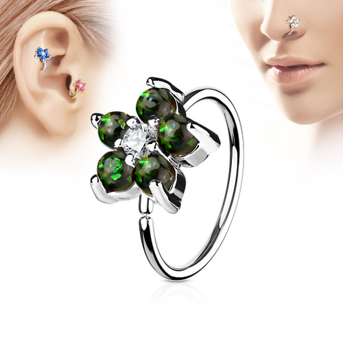 Green Opal Glitter Set Flower Petals CZ Center 316L Surgical Steel Hoop Ring for Nose & Ear Cartilage