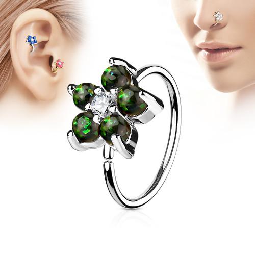 Green Opal Glitter Set Flower Petals CZ Center 316L Surgical Steel Hoop Ring for Nose & Ear Cartilage