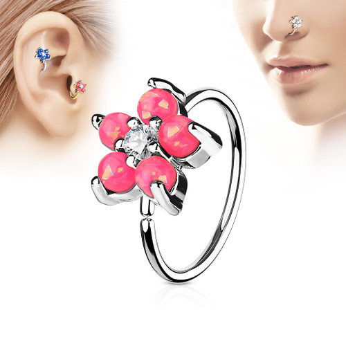 pink Opal Glitter Set Flower Petals CZ Center 316L Surgical Steel Hoop Ring for Nose & Ear Cartilage
