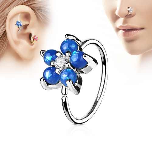 Dark Opal Glitter Set Flower Petals CZ Center 316L Surgical Steel Hoop Ring for Nose & Ear Cartilage