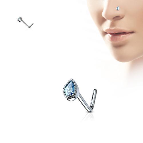 AQUA Blue gem Teardrop 316L Surgical Steel L bend Nose Stud Ring