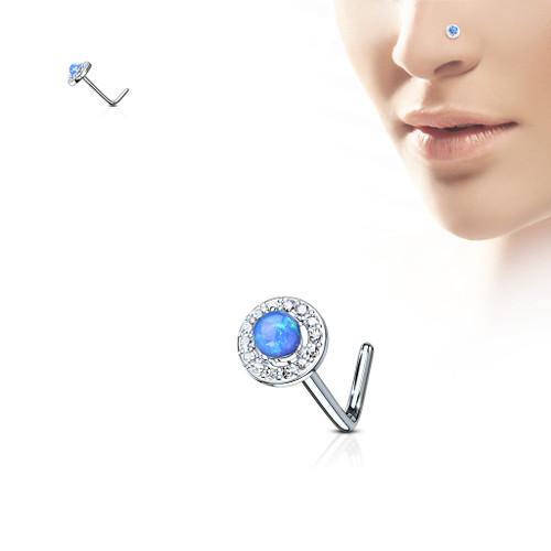 Flower BLUE Opal Set CZ Gem paved  316L Surgical Steel L bend Nose Stud Ring