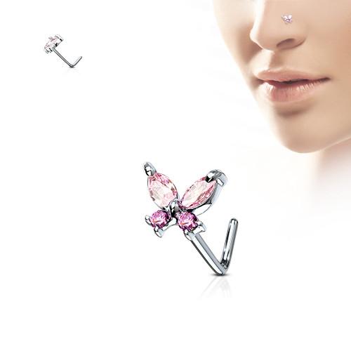 Butterfly PINK  gem 316L Surgical Steel L bend Nose Stud Ring