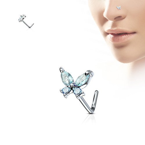 Butterfly Aqua blue gem 316L Surgical Steel L bend Nose Stud Ring