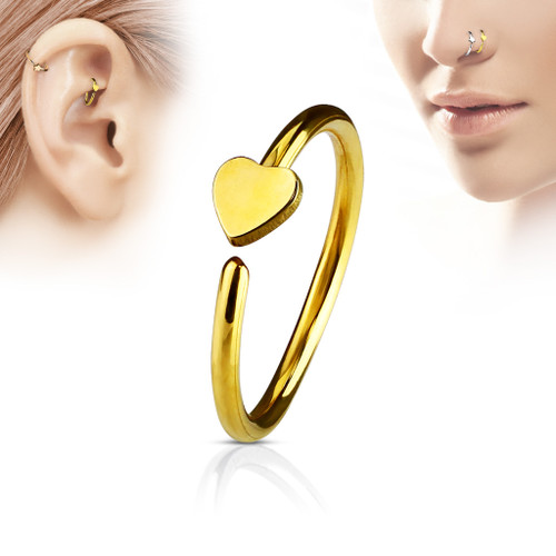 Heart Gold C Shape Hoop  316L Surgical Steel