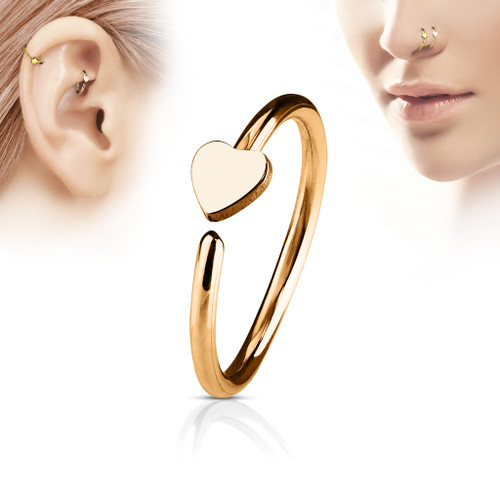 Heart Rose Gold C Shape nose Hoop  316L Surgical Steel
