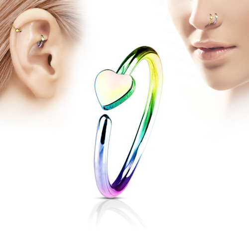 20 gauge Heart Rainbow C Shape nose Hoop  316L Surgical Steel
