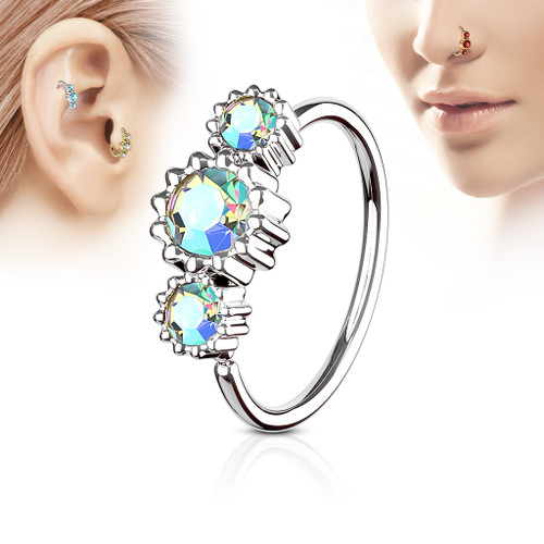 Aurora Borealis 3 Round CZ Set 316L Surgical Steel Hoop Ring for Nose or Ear Cartilage
