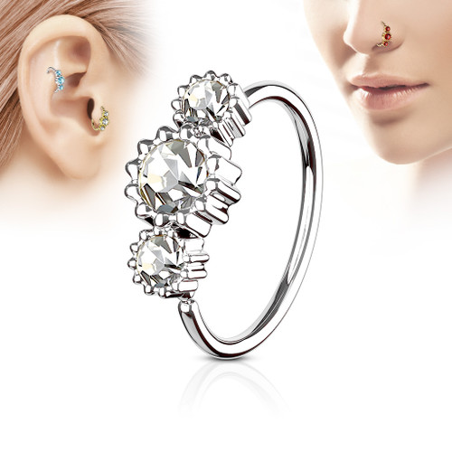 Clear 3 Round CZ Set 316L Surgical Steel Hoop Ring for Nose or Ear Cartilage