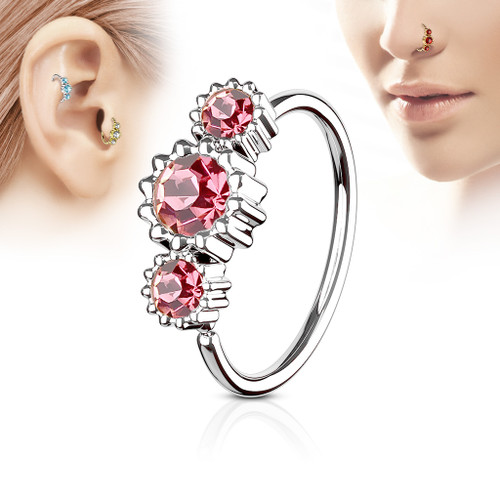 Pink 3 Round CZ Set 316L Surgical Steel Hoop Ring for Nose or Ear Cartilage