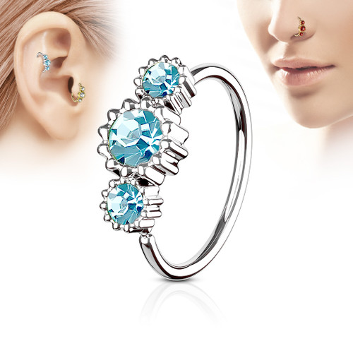 Aqua Blue 3 Round CZ Set 316L Surgical Steel Hoop Ring for Nose or Ear Cartilage
