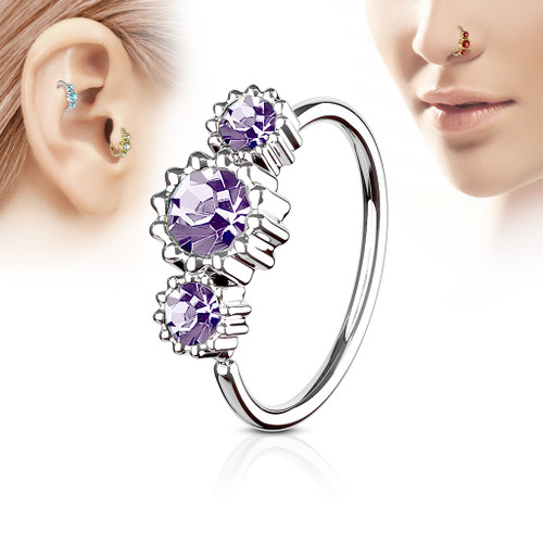 Purple 3 Round CZ Set 316L Surgical Steel Hoop Ring for Nose or Ear Cartilage