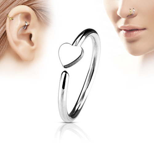 Heart Silver C Shape nose Hoop  316L Surgical Steel