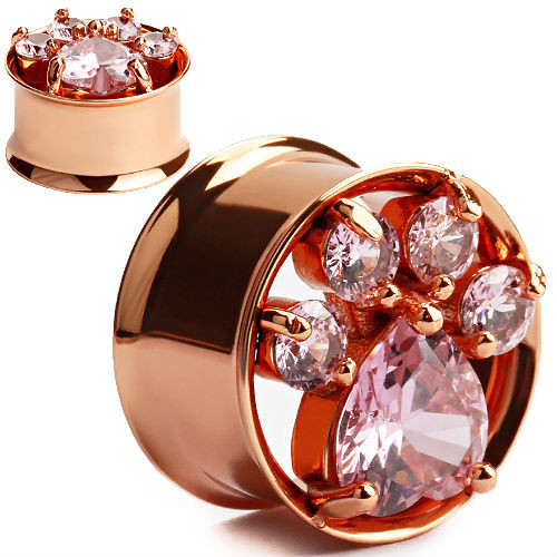 Pink Paws Rose Gold Tunnels  and Cubic Zirconia Gem Ears