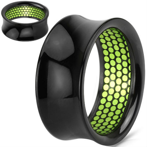 Green Dotted Pattern Inlaid Black Acrylic Saddle Fit Ear Tunnel