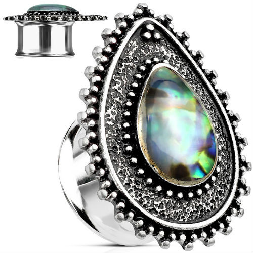 One pair of Silver beaded abalone teardrop double saddle ear plugs 316 stainless steel