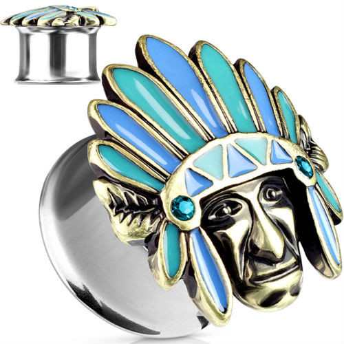 Tribal Chief Top 316L Surgical Steel Double Flared Ear Plugs