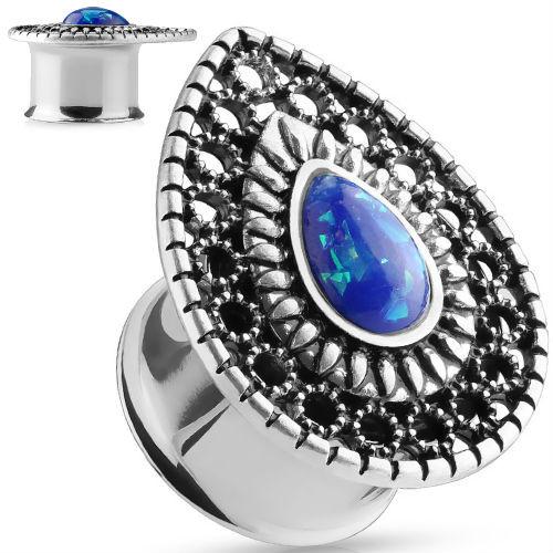 Blue opal Glitter Teardrop face Ear plugs