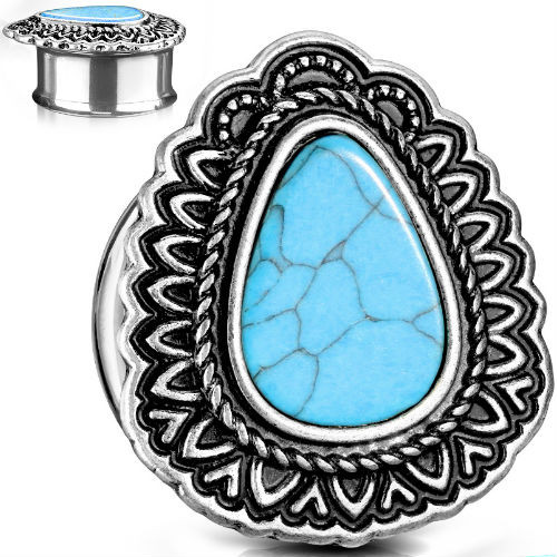 Turquoise Center Antique Silver Plated Teardrop Top Double Flared Tunnels-sold in pairs