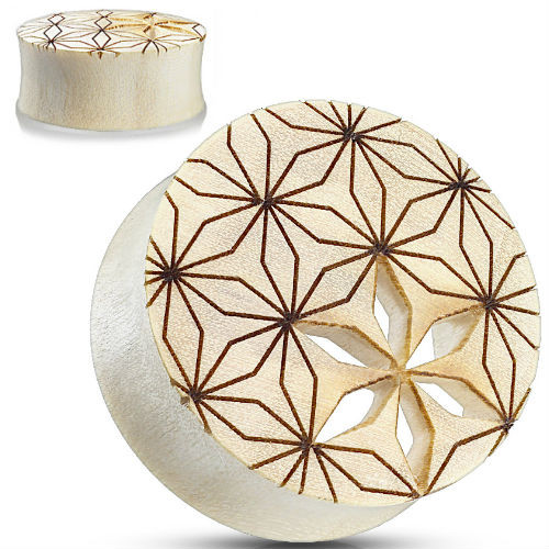 Cut Out Flower of Life Saddle Fit Organic Plug Tunnel