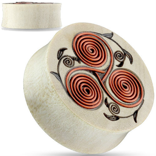 Copper Swirl Floral design Saddle Fit Organic Plug Tunnel