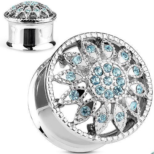 Convex Blue gem Flower 316L Stainless Steel ear plugs