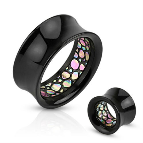 Rainbow Abalone Spotted Pattern Inlaid Black Acrylic Saddle Fit Ear Tunnel