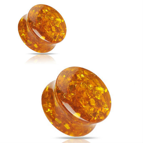 Synthetic Amber Solid double saddle  Ear Gauges