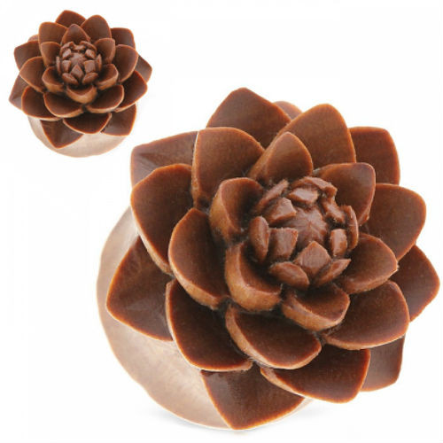 Hand Carved Lotus Saba wood  organic ear plugs double saddle gauges