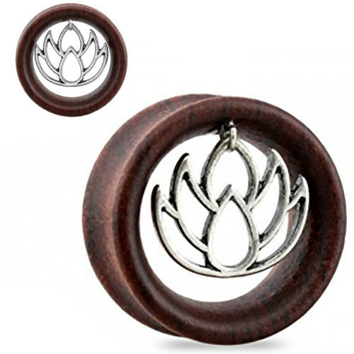 Sono Wood With Center dangle Lotus Design ear plugs