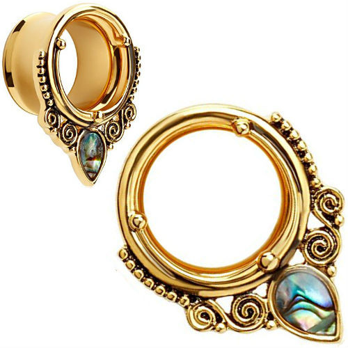 Gold Ornate Swirl Oval Abalone Stainless Steel Double saddle tunnels