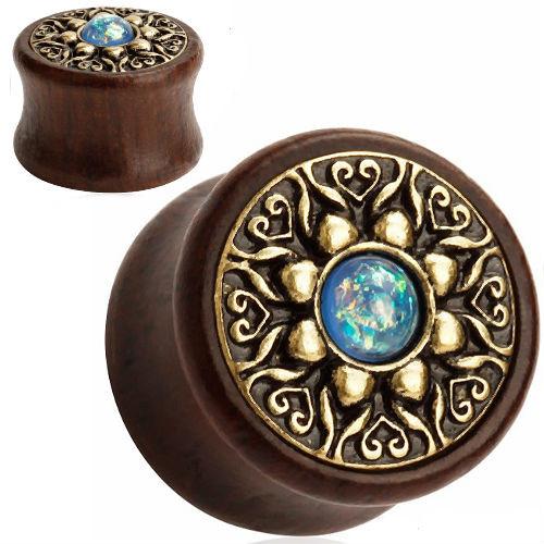 Wood Brass Flower blue opal center double saddle ear plugs